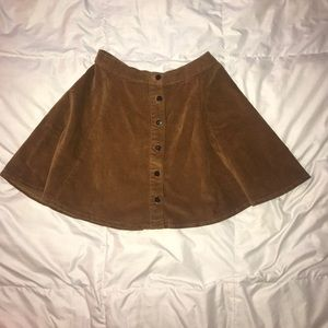 Brandy Melville Brown Button-up Suede Skirt Size S